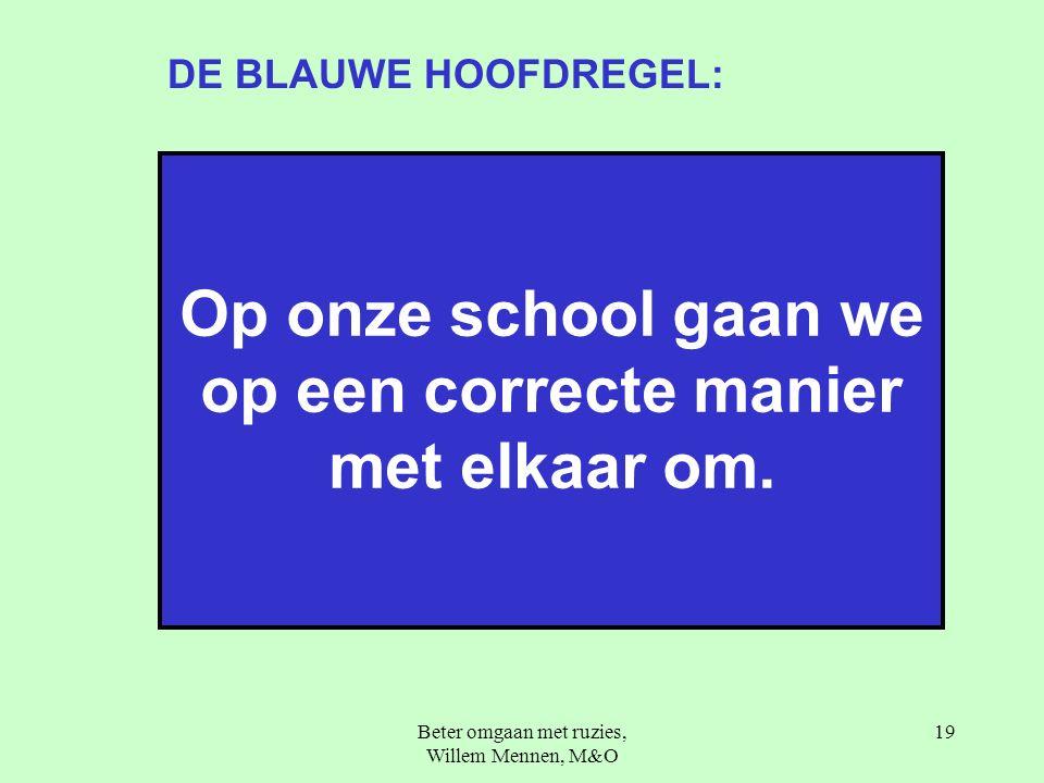 Beter omgaan met ruzies, Willem Mennen, M&O 19 Op onze school gaan we op een correcte manier met elkaar om.