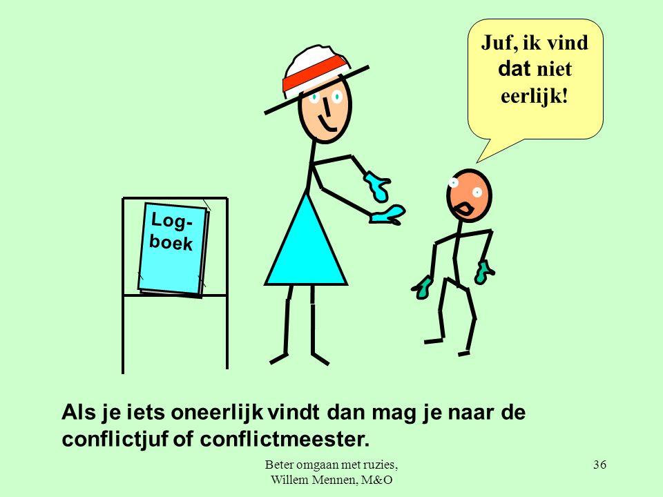 Beter omgaan met ruzies, Willem Mennen, M&O 36 Log- boek Als je iets oneerlijk vindt dan mag je naar de conflictjuf of conflictmeester.