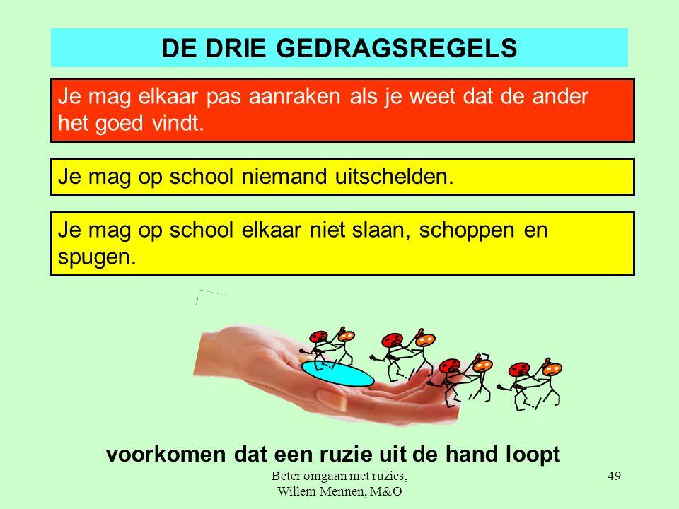 Beter omgaan met ruzies, Willem Mennen, M&O 49 DE DRIE GEDRAGSREGELS Je mag elkaar pas aanraken als je weet dat de ander het goed vindt.