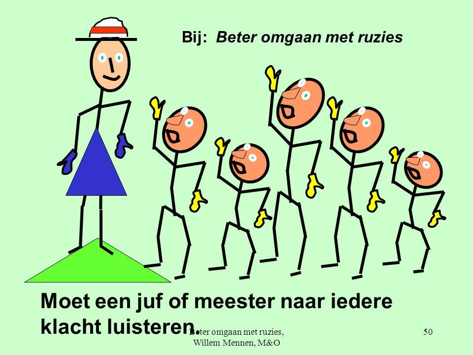 Beter omgaan met ruzies, Willem Mennen, M&O 50 Moet een juf of meester naar iedere klacht luisteren.