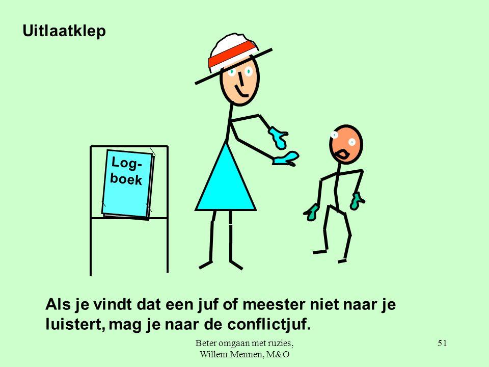 Beter omgaan met ruzies, Willem Mennen, M&O 51 Log- boek Als je vindt dat een juf of meester niet naar je luistert, mag je naar de conflictjuf.