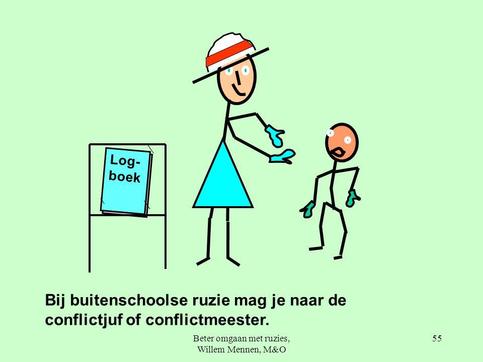 Beter omgaan met ruzies, Willem Mennen, M&O 55 Log- boek Bij buitenschoolse ruzie mag je naar de conflictjuf of conflictmeester.
