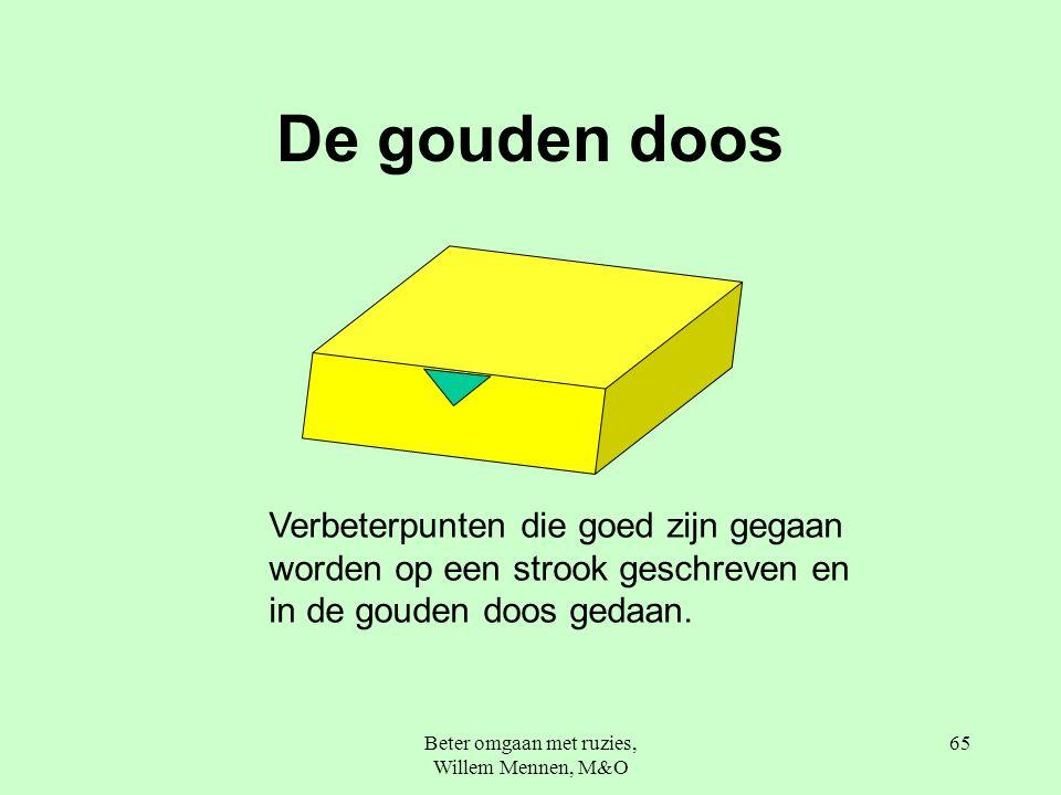 Beter omgaan met ruzies, Willem Mennen, M&O 65 De gouden doos Verbeterpunten die goed zijn gegaan worden op een strook geschreven en in de gouden doos gedaan.