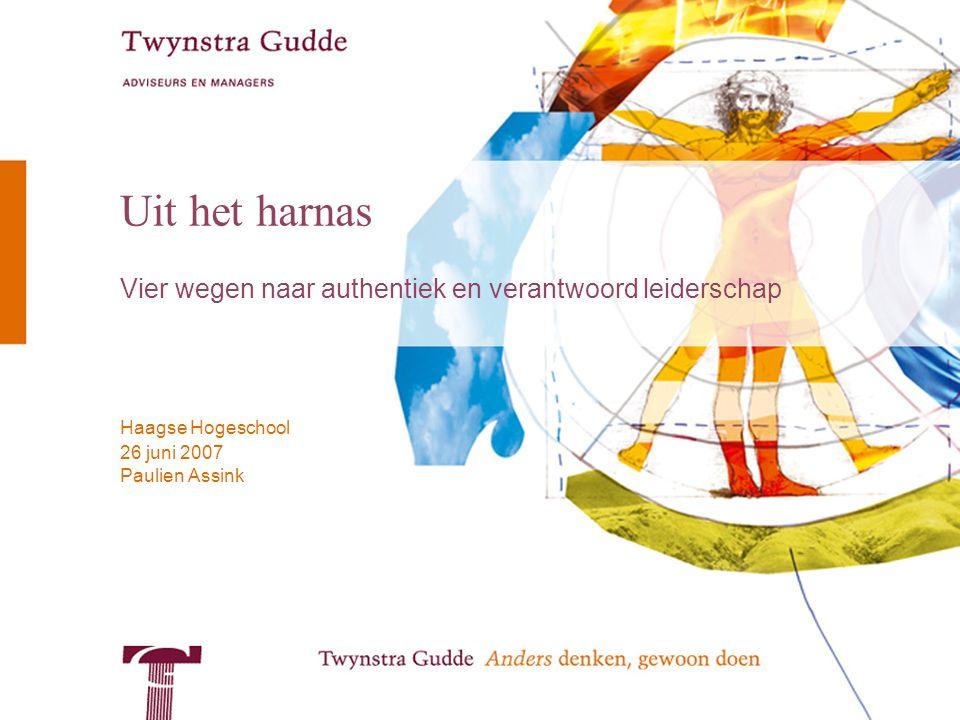 Paulien Assink Haagse Hogeschool 26 juni 2007 Uit het harnas Vier wegen naar authentiek en verantwoord leiderschap
