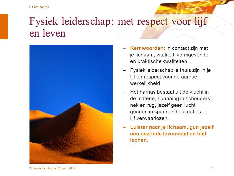 © Twynstra Gudde 26 juni 2007 Uit het harnas 10 Fysiek leiderschap: met respect voor lijf en leven –Kernwoorden: in contact zijn met je lichaam, vital