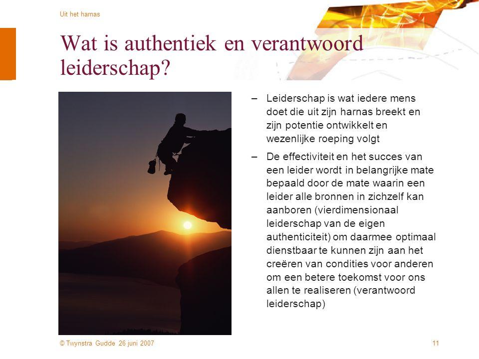 © Twynstra Gudde 26 juni 2007 Uit het harnas 11 Wat is authentiek en verantwoord leiderschap? –Leiderschap is wat iedere mens doet die uit zijn harnas