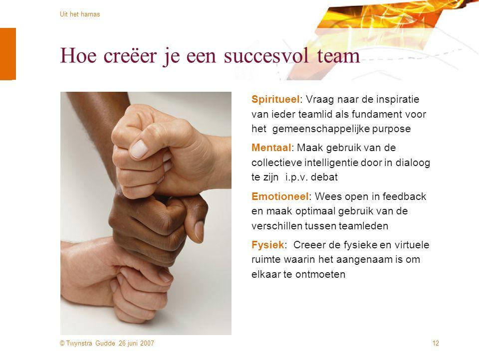 © Twynstra Gudde 26 juni 2007 Uit het harnas 12 Hoe creëer je een succesvol team Spiritueel: Vraag naar de inspiratie van ieder teamlid als fundament