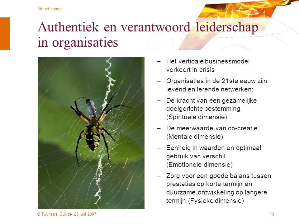 © Twynstra Gudde 26 juni 2007 Uit het harnas 13 Authentiek en verantwoord leiderschap in organisaties –Het verticale businessmodel verkeert in crisis