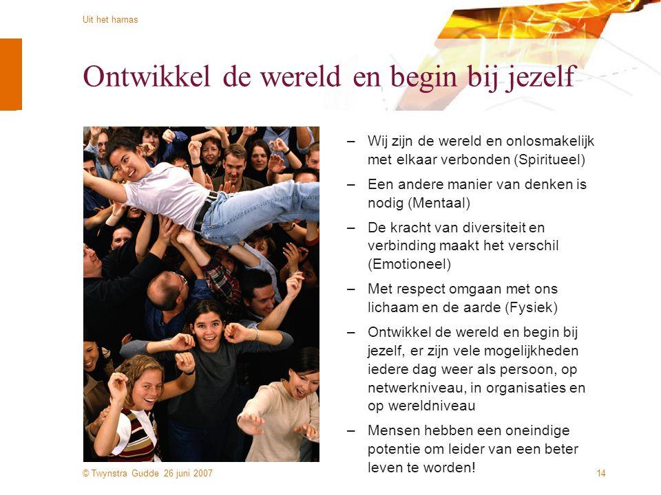 © Twynstra Gudde 26 juni 2007 Uit het harnas 14 Ontwikkel de wereld en begin bij jezelf –Wij zijn de wereld en onlosmakelijk met elkaar verbonden (Spi