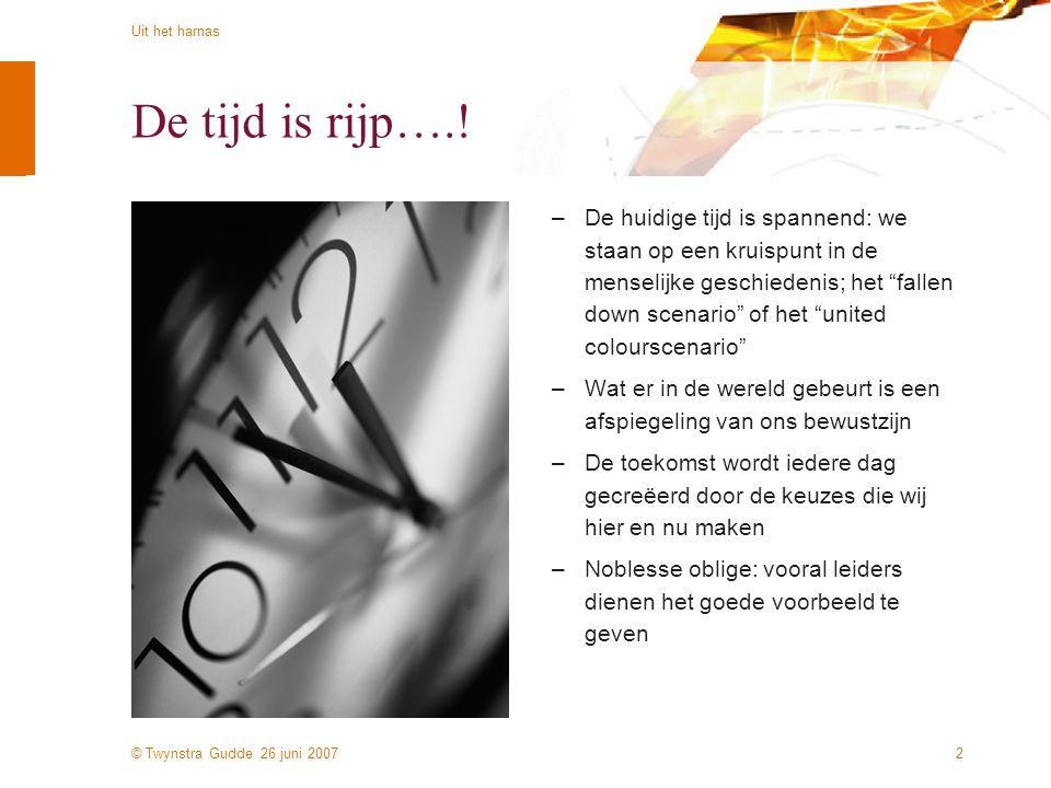 © Twynstra Gudde 26 juni 2007 Uit het harnas 2 De tijd is rijp….! –De huidige tijd is spannend: we staan op een kruispunt in de menselijke geschiedeni