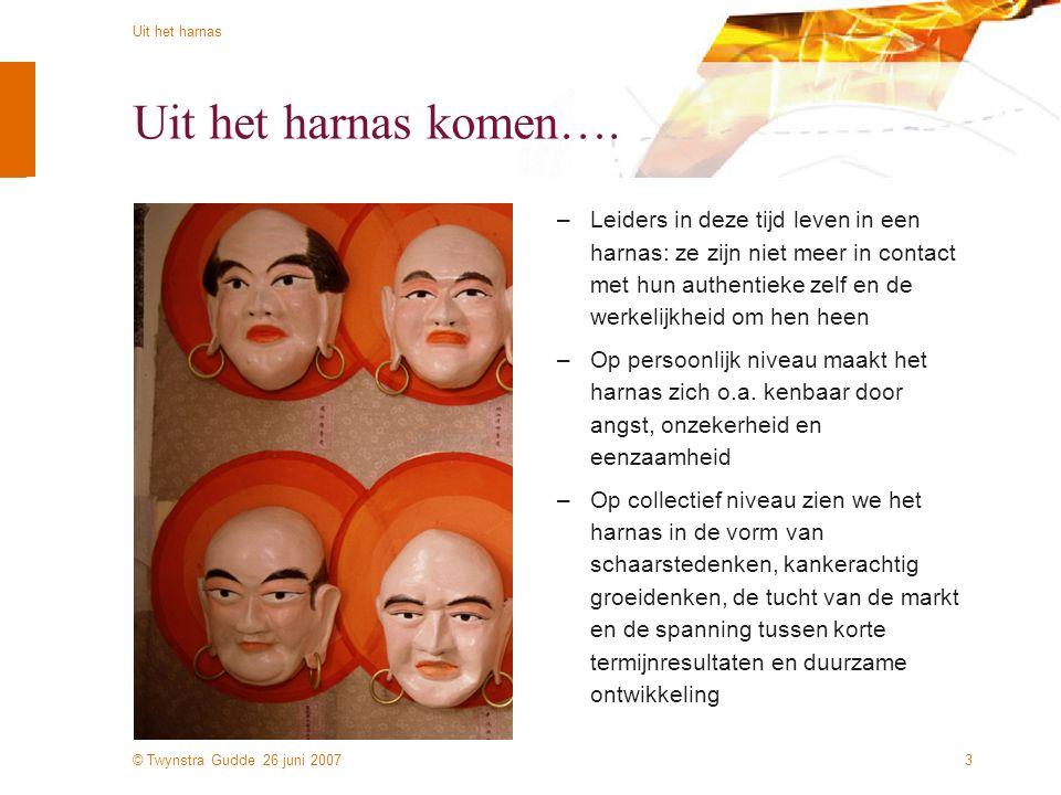 © Twynstra Gudde 26 juni 2007 Uit het harnas 3 Uit het harnas komen…. –Leiders in deze tijd leven in een harnas: ze zijn niet meer in contact met hun