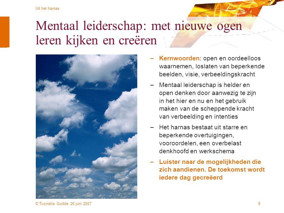 © Twynstra Gudde 26 juni 2007 Uit het harnas 8 Mentaal leiderschap: met nieuwe ogen leren kijken en creëren –Kernwoorden: open en oordeelloos waarneme