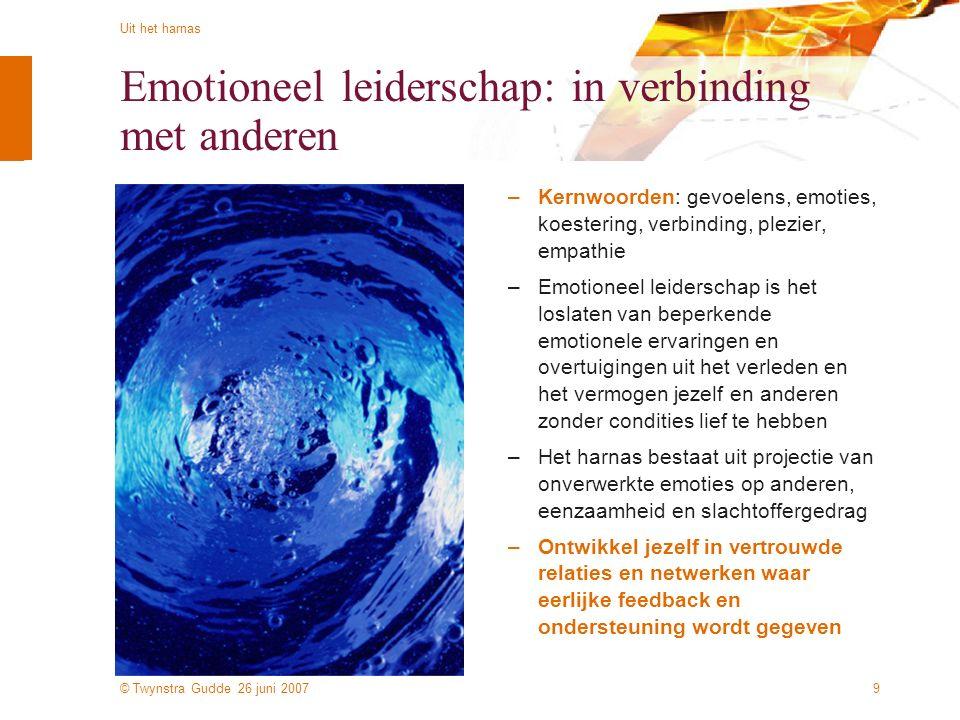 © Twynstra Gudde 26 juni 2007 Uit het harnas 9 Emotioneel leiderschap: in verbinding met anderen –Kernwoorden: gevoelens, emoties, koestering, verbind