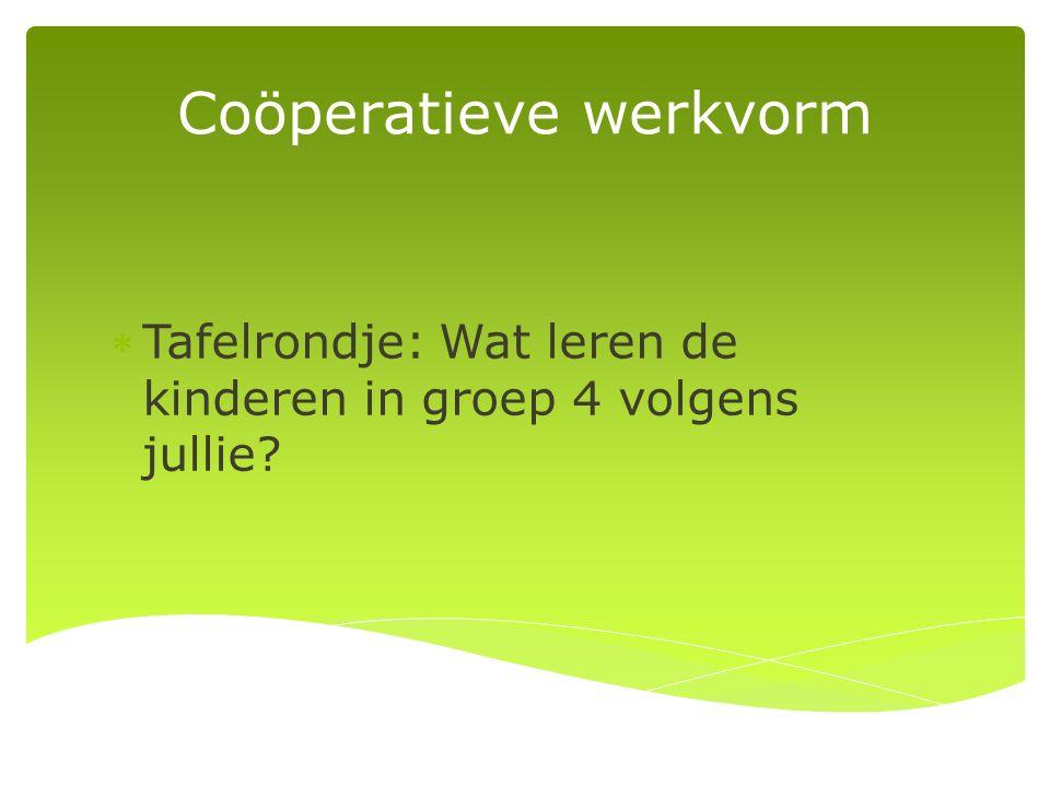 Coöperatieve werkvorm Tafelrondje: Wat leren de kinderen in groep 4 volgens jullie