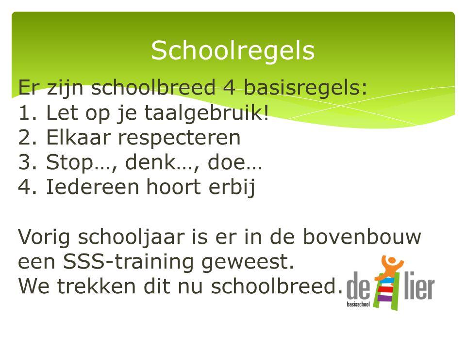 Schoolregels Er zijn schoolbreed 4 basisregels: 1.
