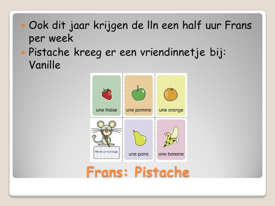 Frans: Pistache Ook dit jaar krijgen de lln een half uur Frans per week Pistache kreeg er een vriendinnetje bij: Vanille