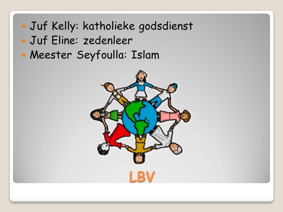 LBV Juf Kelly: katholieke godsdienst Juf Eline: zedenleer Meester Seyfoulla: Islam