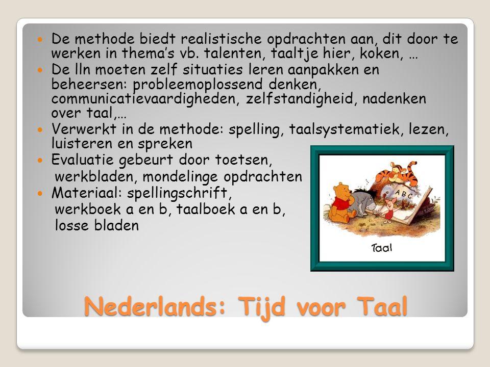 Nederlands: Tijd voor Taal De methode biedt realistische opdrachten aan, dit door te werken in thema's vb.
