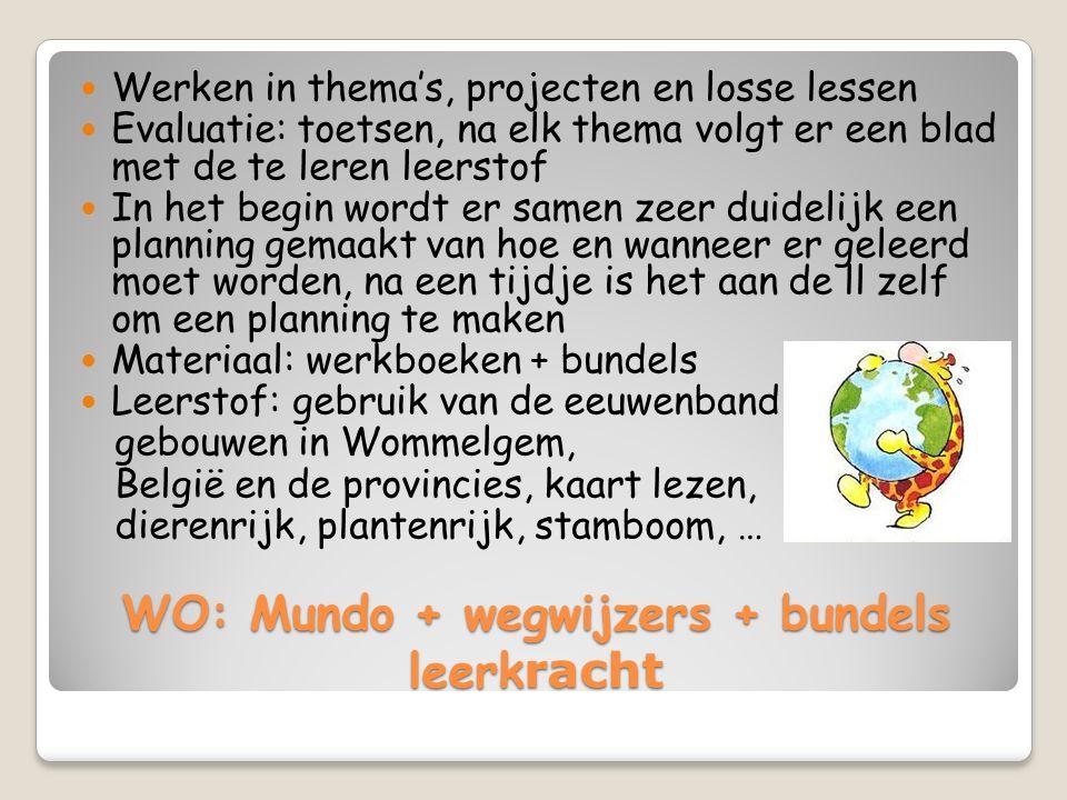 WO: Mundo + wegwijzers + bundels leerk racht Werken in thema's, projecten en losse lessen Evaluatie: toetsen, na elk thema volgt er een blad met de te leren leerstof In het begin wordt er samen zeer duidelijk een planning gemaakt van hoe en wanneer er geleerd moet worden, na een tijdje is het aan de ll zelf om een planning te maken Materiaal: werkboeken + bundels Leerstof: gebruik van de eeuwenband, gebouwen in Wommelgem, België en de provincies, kaart lezen, dierenrijk, plantenrijk, stamboom, …