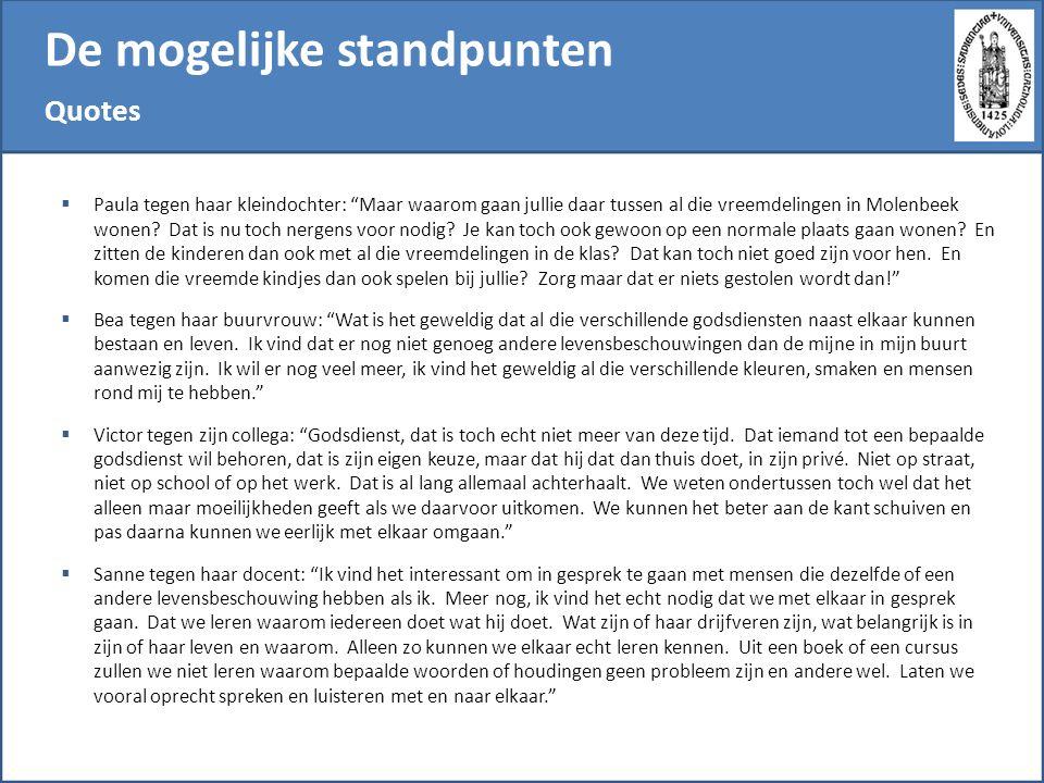 De mogelijke standpunten Quotes  Paula tegen haar kleindochter: Maar waarom gaan jullie daar tussen al die vreemdelingen in Molenbeek wonen.