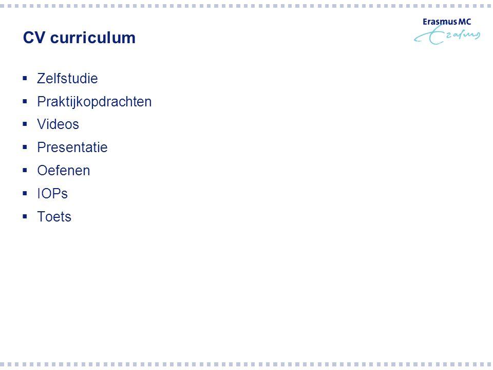 CV curriculum  Zelfstudie  Praktijkopdrachten  Videos  Presentatie  Oefenen  IOPs  Toets