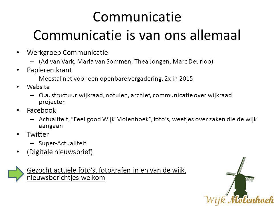 Communicatie Communicatie is van ons allemaal Werkgroep Communicatie – (Ad van Vark, Maria van Sommen, Thea Jongen, Marc Deurloo) Papieren krant – Meestal net voor een openbare vergadering.