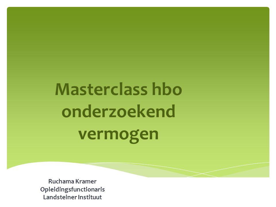Masterclass hbo onderzoekend vermogen Ruchama Kramer Opleidingsfunctionaris Landsteiner Instituut