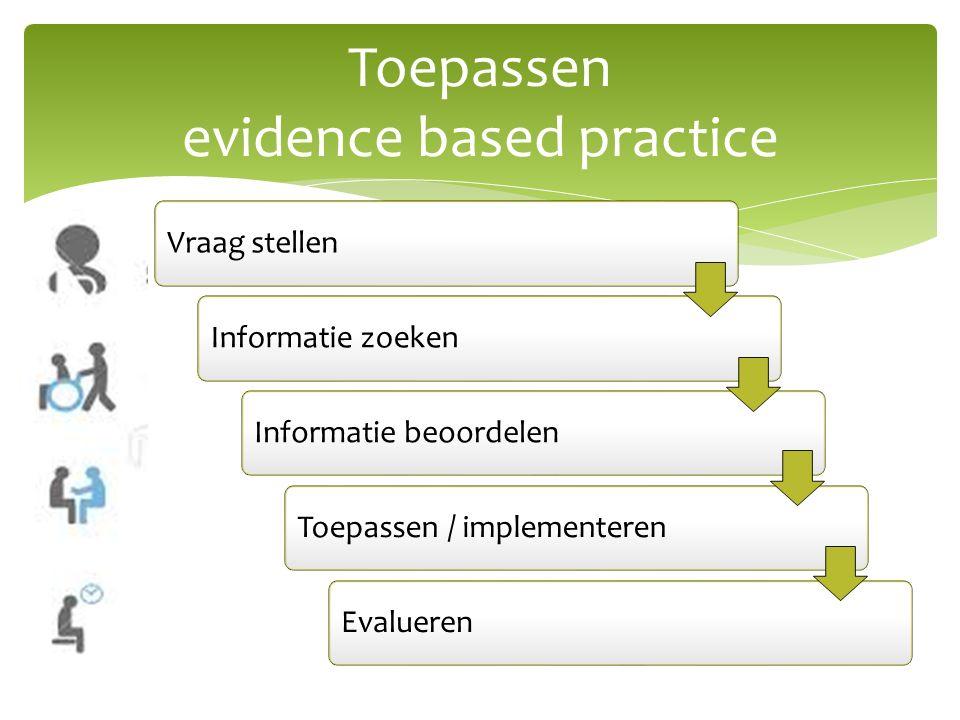 Toepassen evidence based practice Vraag stellenInformatie zoekenInformatie beoordelenToepassen / implementerenEvalueren