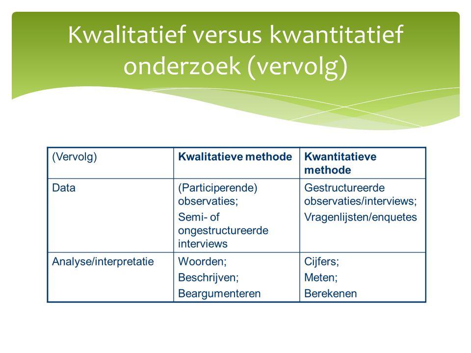 Kwalitatief versus kwantitatief onderzoek (vervolg)