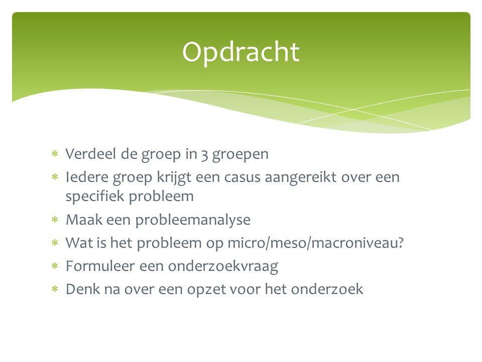  Verdeel de groep in 3 groepen  Iedere groep krijgt een casus aangereikt over een specifiek probleem  Maak een probleemanalyse  Wat is het probleem op micro/meso/macroniveau.