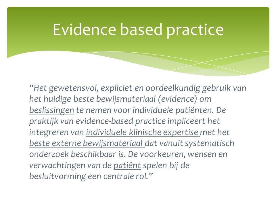 Het gewetensvol, expliciet en oordeelkundig gebruik van het huidige beste bewijsmateriaal (evidence) om beslissingen te nemen voor individuele patiënten.