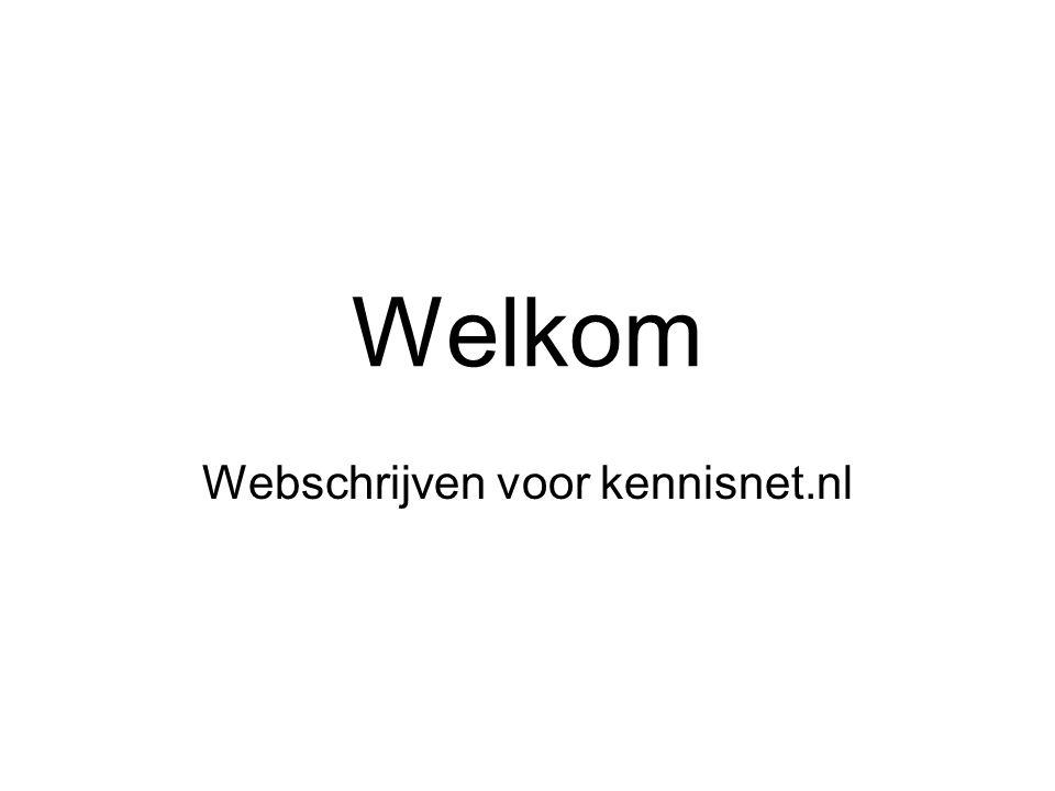 Welkom Webschrijven voor kennisnet.nl
