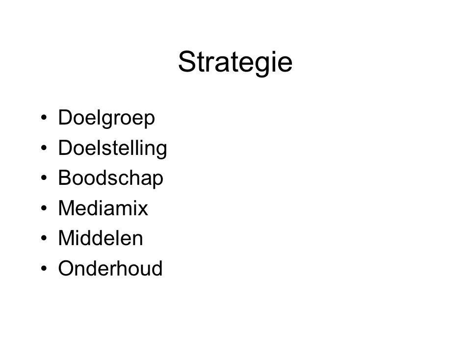 Strategie Doelgroep Doelstelling Boodschap Mediamix Middelen Onderhoud
