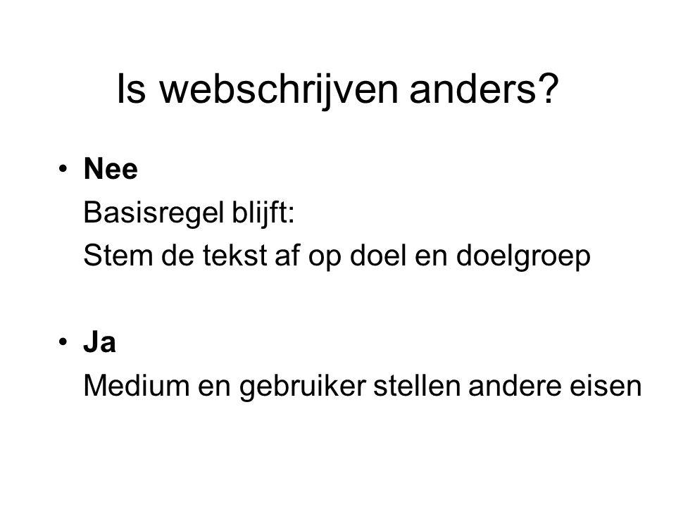 Is webschrijven anders.