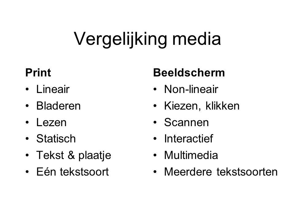 Vergelijking media Print Lineair Bladeren Lezen Statisch Tekst & plaatje Eén tekstsoort Beeldscherm Non-lineair Kiezen, klikken Scannen Interactief Mu