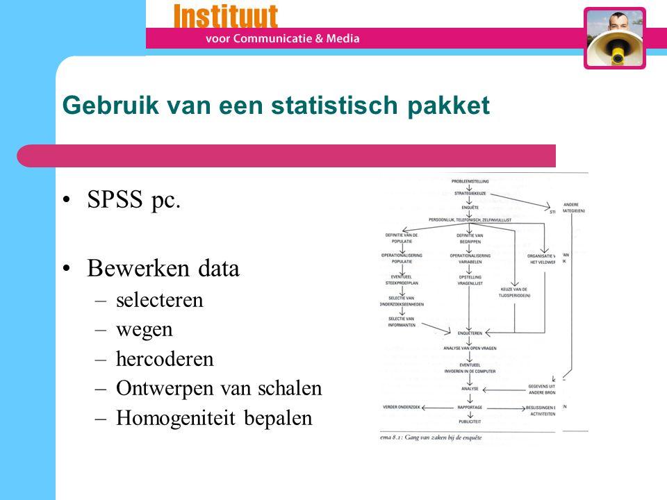 Gebruik van een statistisch pakket SPSS pc.