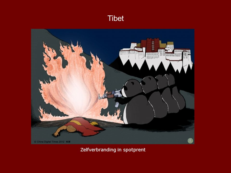 Tibet Zelfverbranding in spotprent