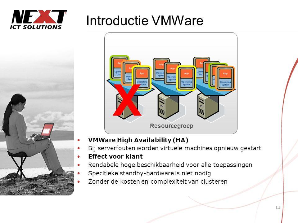 11 Introductie VMWare VMWare High Availability (HA) Bij serverfouten worden virtuele machines opnieuw gestart Effect voor klant Rendabele hoge beschikbaarheid voor alle toepassingen Specifieke standby-hardware is niet nodig Zonder de kosten en complexiteit van clusteren Resourcegroep X