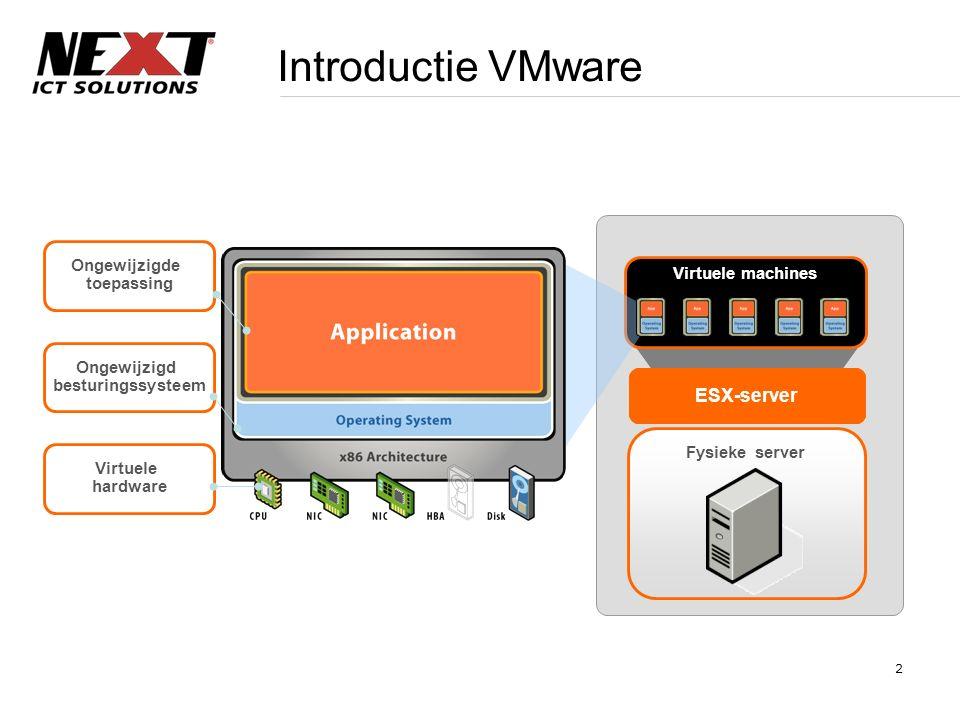 2 Introductie VMware Fysieke server ESX-server Virtuele machines Ongewijzigde toepassing Ongewijzigd besturingssysteem Virtuele hardware