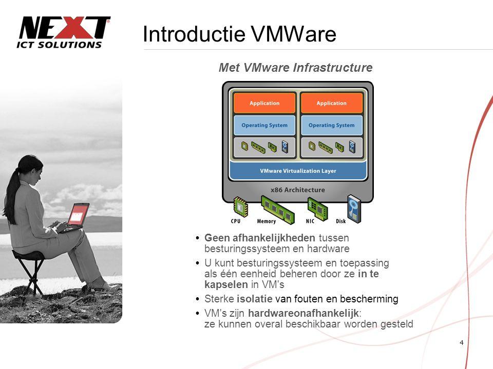 4 Introductie VMWare  Geen afhankelijkheden tussen besturingssysteem en hardware  U kunt besturingssysteem en toepassing als één eenheid beheren door ze in te kapselen in VM s  Sterke isolatie van fouten en bescherming  VM s zijn hardwareonafhankelijk: ze kunnen overal beschikbaar worden gesteld Met VMware Infrastructure
