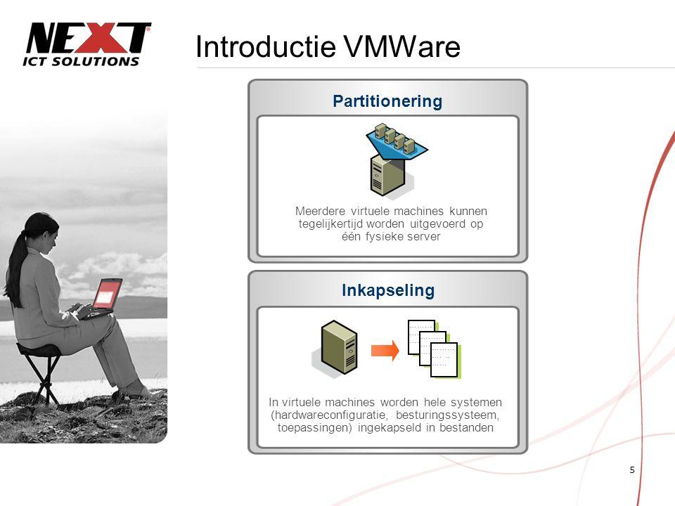 6 Introductie VMWare Hardwareonafhankelijkheid Een virtuele machine kan zonder aanpassingen op elke server worden uitgevoerd Isolatie Elke virtuele machine is geïsoleerd van andere virtuele machines op dezelfde server