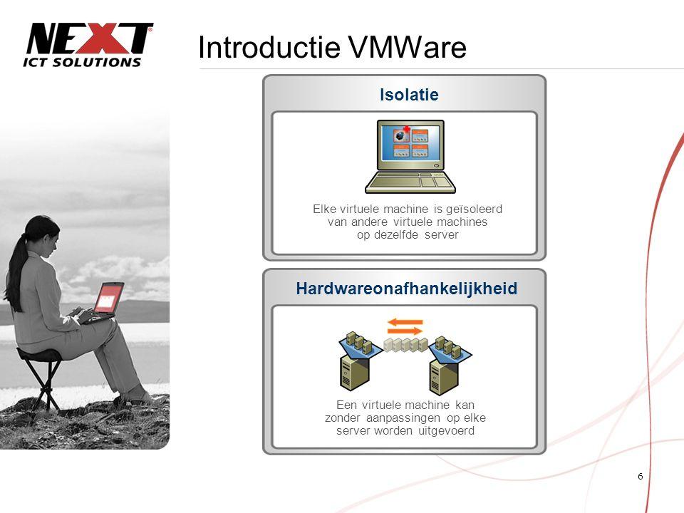 7 Introductie VMWare Serverfarm VMware Infrastructure Netwerk Opslag VirtualCenter Virtuele machines ESX-server VC-agent