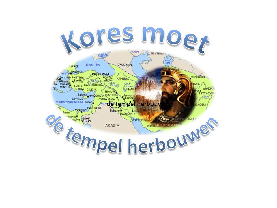 Jesaja 44 (...) 28 die tot Kores zeg: Mijn herder, hij zal al mijn welbehagen volvoeren door tot Jeruzalem te zeggen: Het worde herbouwd en de tempel worde gegrondvest.