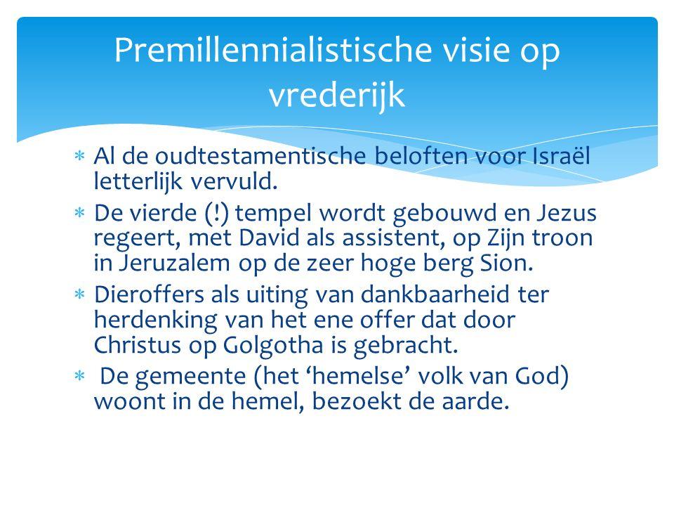  Al de oudtestamentische beloften voor Israël letterlijk vervuld.