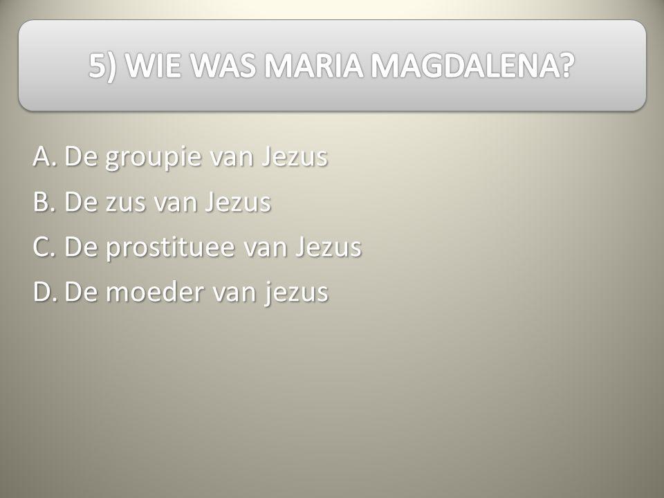 A.B.C.D. De groupie van Jezus De zus van Jezus De prostituee van Jezus De moeder van jezus
