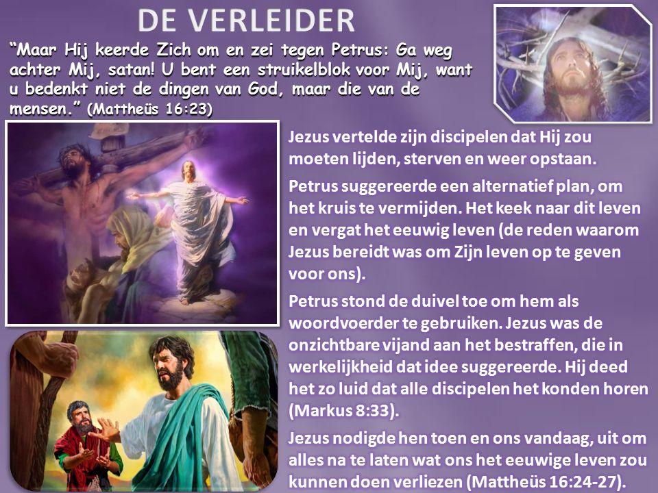 Maar Hij keerde Zich om en zei tegen Petrus: Ga weg achter Mij, satan.