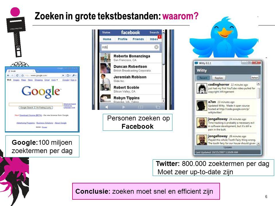 6 Zoeken in grote tekstbestanden: waarom? Personen zoeken op Facebook Google:100 miljoen zoektermen per dag Conclusie: zoeken moet snel en efficient z