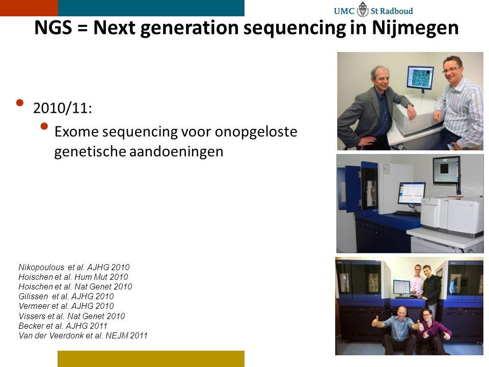 NGS = Next generation sequencing in Nijmegen 2010/11: Exome sequencing voor onopgeloste genetische aandoeningen Nikopoulous et al.