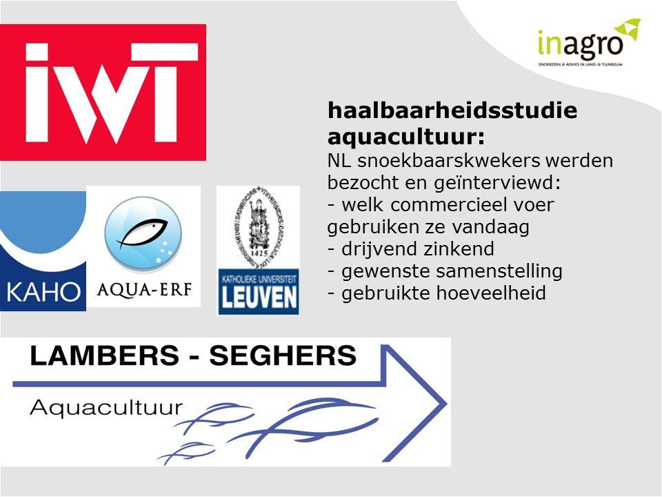 haalbaarheidsstudie aquacultuur: NL snoekbaarskwekers werden bezocht en geïnterviewd: - welk commercieel voer gebruiken ze vandaag - drijvend zinkend - gewenste samenstelling - gebruikte hoeveelheid