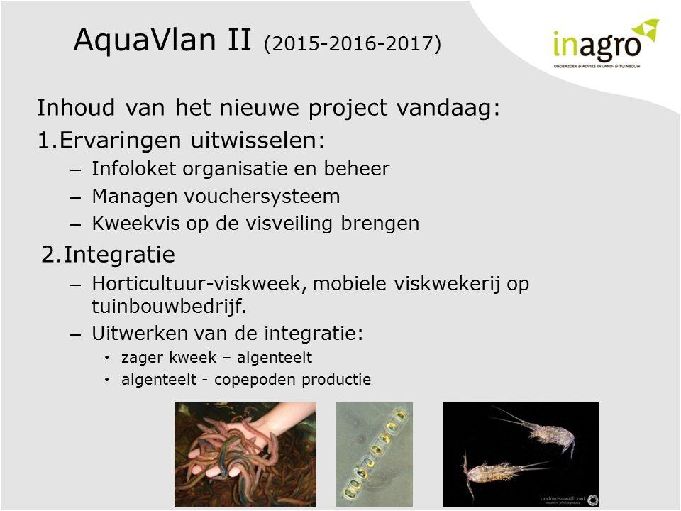 AquaVlan II (2015-2016-2017) Inhoud van het nieuwe project vandaag: 1.Ervaringen uitwisselen: – Infoloket organisatie en beheer – Managen vouchersysteem – Kweekvis op de visveiling brengen 2.Integratie – Horticultuur-viskweek, mobiele viskwekerij op tuinbouwbedrijf.